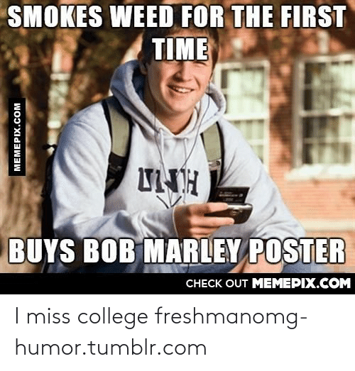 Bob Marley, College, and Omg: SMOKES WEED FOR THE FIRST  TIME  UNH  BUYS BOB MARLEY POSTER  CHECK OUT MEMEPIX.COM  MEMEPIX.COM I miss college freshmanomg-humor.tumblr.com