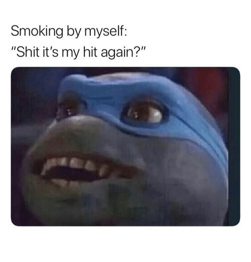 """Shit, Smoking, and Weed: Smoking by myself:  """"Shit it's my hit again?"""""""