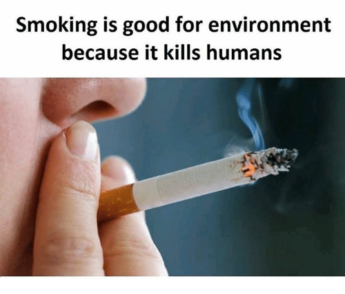 Smoking, Good, and Nihilist: Smoking is good for environment  because it kills humans