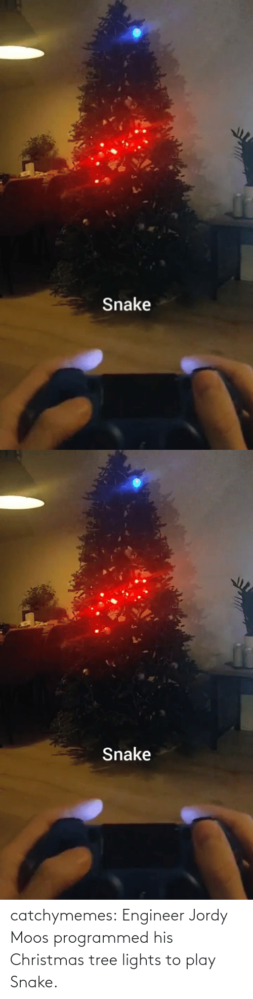Christmas Tree: Snake   Snake catchymemes:  Engineer Jordy Moos programmed his Christmas tree lights to play Snake.
