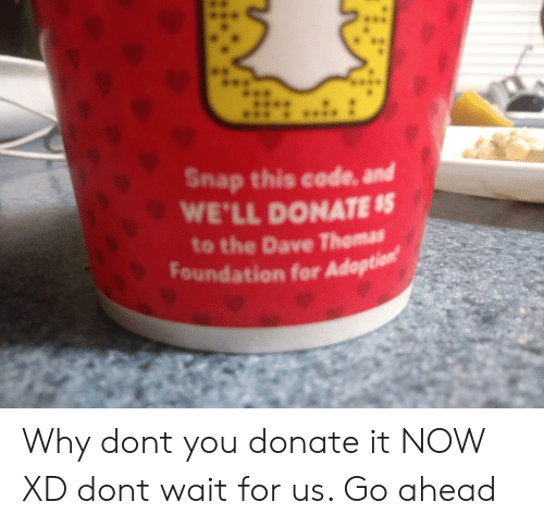 dave thomas: ..  Snap this code, and  WE'LL DONATE $  to the Dave Thomas  Foundation for Adoption Why dont you donate it NOW XD dont wait for us. Go ahead