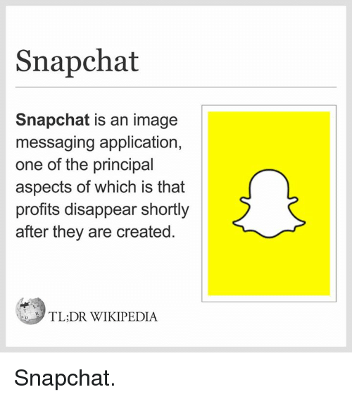 Dank, Snapchat, and Tldr: Snapchat  Snapchat is an image  messaging application,  one of the principal  aspects of which is that  profits disappear shortly  after they are created  TLDR WIKIPEDIA Snapchat.