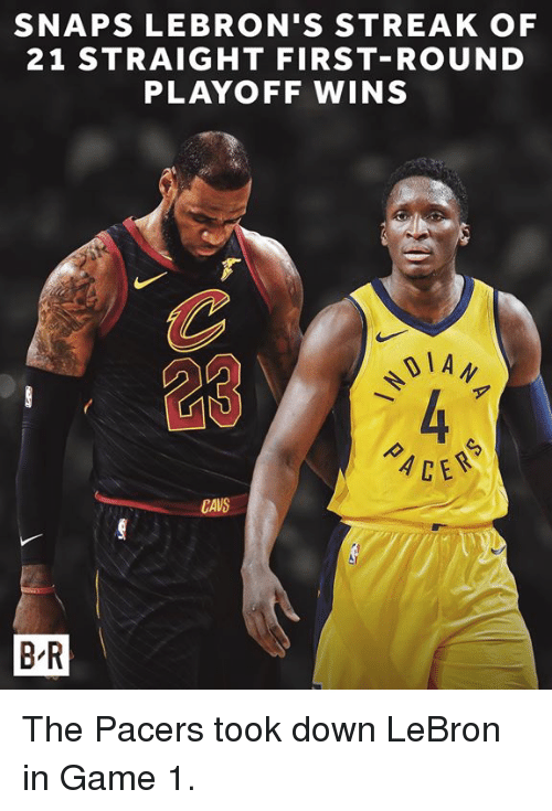 Cavs, Game, and Lebron: SNAPS LEBRON'S STREAK OF  21 STRAIGHT FIRST-ROUND  PLAYOFF WINS  1 A  23  CE  CAVS  B R The Pacers took down LeBron in Game 1.