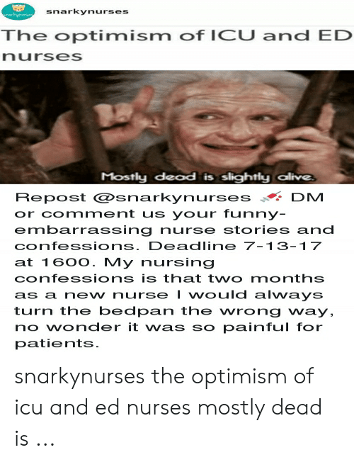 Bedpan: snarkynurses  The optimism of ICU and ED  nurses  Mostly dead is slightly alive  Repost @snarky n u rses·.. DM  or comment us your funny  embarrassing nurse stories and  confessions. Deadline 7-13-1 7  at 160O. My nursing  confessions is that two months  as anew nurse I would always  turn the bedpan the wrong way,  no wonder it was so painful for  patients. snarkynurses the optimism of icu and ed nurses mostly dead is ...