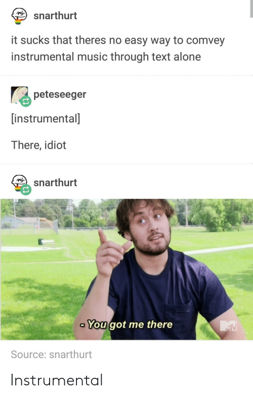 You Got Me There: snarthurt  it sucks that theres no easy way to comvey  instrumental music through text alone  peteseeger  instrumental  There, idiot  snarthurt  You got me there  Source: snarthurt Instrumental
