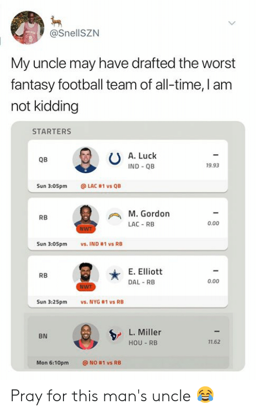 Fantasy football: @SnellSZN  My uncle may have drafted the worst  fantasy football team of all-time, I am  not kidding  STARTERS  A. Luck  QB  IND QB  19.93  Sun 3:05pm  @LAC #1 vs QB  M.Gordon  RB  0.00  LAC-RB  NWT  Sun 3:05pm  vs. IND #1 vs RB  E. Elliott  RB  0.00  DAL RB  WT  vs. NYG #1 vs RB  Sun 3:25pm  L. Miller  BN  11.62  HOU RB  Mon 6:10pm  @ NO #1 vs RB Pray for this man's uncle 😂