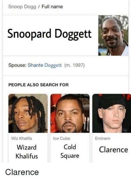 Clarence: Snoop Dogg / Full name  Snoopard Doggett  Spouse: Shante Doggett (m. 1997)  PEOPLE ALSO SEARCH FOR  Wiz Khalifa  Ice Cube  Eminem  Wizard  Khalifus  Cold  Square  Clarence Clarence