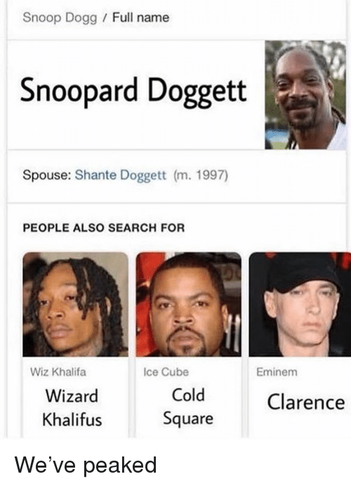 Clarence: Snoop Dogg / Full name  Snoopard Doggett  Spouse: Shante Doggett (m. 1997)  PEOPLE ALSO SEARCH FOR  Wiz Khalifa  Ice Cube  Eminem  Wizard  Khalifus  Cold  Square  Clarence We've peaked