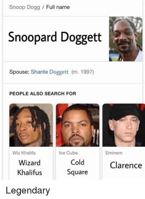 Clarence: Snoop Dogg Full name  Snoopard Doggett  Spouse: Shante Doggett (m. 1997)  PEOPLE ALSO SEARCH FOR  Wiz Khalifa  Ice Cube  Eminem  Wizard  Khalifus  Cold  Square  Clarence Legendary
