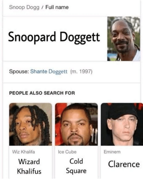 Clarence: Snoop Dogg /Full name  Snoopard Doggett  Spouse: Shante Doggett (m. 1997)  PEOPLE ALSO SEARCH FOR  Wiz Khalifa  Ice Cube  Eminem  Wizard  Khalif  Cold  Square  Clarence  us