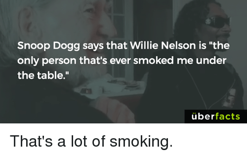 "Facts, Memes, and Smoking: Snoop Dogg says that Willie Nelson is ""the  only person that's ever smoked me under  the table.""  uber  facts That's a lot of smoking."