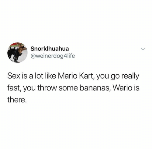 wario: Snorklhuahua  @weinerdog4life  Sex is a lot like Mario Kart, you go really  fast, you throw some bananas, Wario is  there