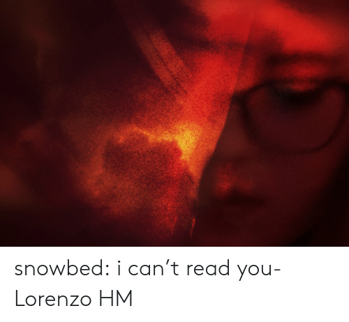 I Cant Read: snowbed:  i can't read you- Lorenzo HM