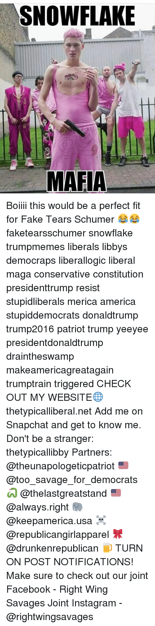 America, Facebook, and Fake: SNOWFLAKE  MAFIA Boiiii this would be a perfect fit for Fake Tears Schumer 😂😂 faketearsschumer snowflake trumpmemes liberals libbys democraps liberallogic liberal maga conservative constitution presidenttrump resist stupidliberals merica america stupiddemocrats donaldtrump trump2016 patriot trump yeeyee presidentdonaldtrump draintheswamp makeamericagreatagain trumptrain triggered CHECK OUT MY WEBSITE🌐 thetypicalliberal.net Add me on Snapchat and get to know me. Don't be a stranger: thetypicallibby Partners: @theunapologeticpatriot 🇺🇸 @too_savage_for_democrats 🐍 @thelastgreatstand 🇺🇸 @always.right 🐘 @keepamerica.usa ☠️ @republicangirlapparel 🎀 @drunkenrepublican 🍺 TURN ON POST NOTIFICATIONS! Make sure to check out our joint Facebook - Right Wing Savages Joint Instagram - @rightwingsavages