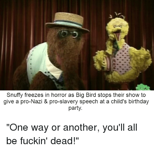 Snuffy Freezes In Horror As Big Bird Stops Their Show To