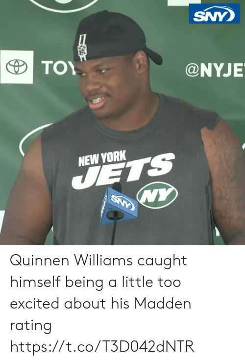 madden: SNY  ΤΟΥ  @NYJE  NEW YORK  JETS  WY  SNY Quinnen Williams caught himself being a little too excited about his Madden rating https://t.co/T3D042dNTR