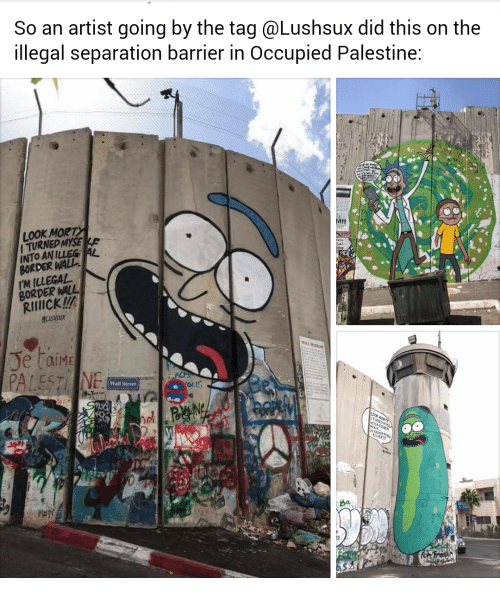 palestine: So an artist going by the tag @Lushsux did this on the  illegal separation barrier in Occupied Palestine:  LOOK MOR  ITURNED MYSE  INTO AN ILLEG AL  BORDER WALL  'M ILLEGAL  BORDER WALL  Rrlcku  Wall Street  ba  fo