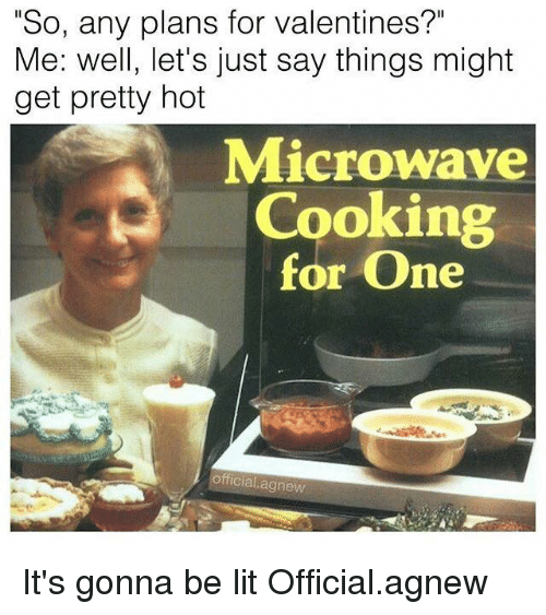 "Memes, 🤖, and Microwave: ""So, any plans for valentines?""  Me: well, let's just say things might  get pretty hot  Microwave  Cooking  for One  official agnew It's gonna be lit Official.agnew"