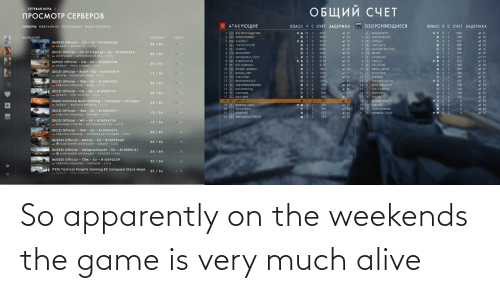 Weekends: So apparently on the weekends the game is very much alive