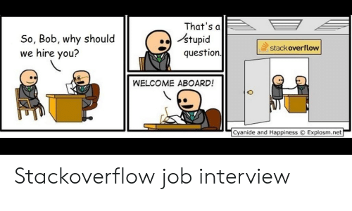 Stupid Question: So, Bob, why should  we hire you?  That's a  stupid  question  stackoverflow  WELCOME ABOARD!  f  Cyanide and Happiness  Explosm.net  ー Stackoverflow job interview
