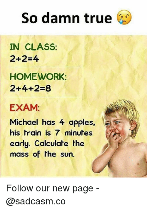 Memes, True, and Michael: So damn true  IN CLASS:  2+2=4  HOMEWORK:  2+4+2=8  EXAM:  Michael has 4 apples,  his train is 7 minutes  early. Calculat  mass of the sun.  e the Follow our new page - @sadcasm.co