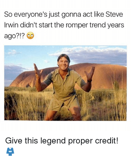 Memes, Steve Irwin, and 🤖: So everyone's just gonna act like Steve  Irwin didn't start the romper trend years  ago?!? Give this legend proper credit! 👘