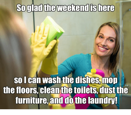toilets: So glad the weekend ts here  so lcan wash the dishes.mon  the floors,clean the toilets.dust the  furnitue and dothe laundry?