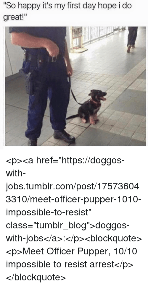 "Tumblr, Blog, and Happy: ""So happy it's my first day hope i do  great!"" <p><a href=""https://doggos-with-jobs.tumblr.com/post/175736043310/meet-officer-pupper-1010-impossible-to-resist"" class=""tumblr_blog"">doggos-with-jobs</a>:</p><blockquote><p>Meet Officer Pupper, 10/10 impossible to resist arrest</p></blockquote>"