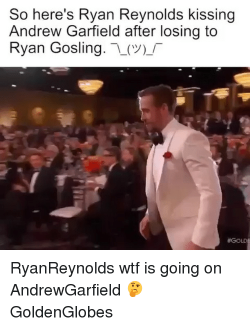 Funny, Ryan Reynolds, and Ryan Gosling: So here's Ryan Reynolds kissing  Andrew Garfield after losing to  Ryan Gosling  (V)  RyanReynolds wtf is going on AndrewGarfield 🤔 GoldenGlobes