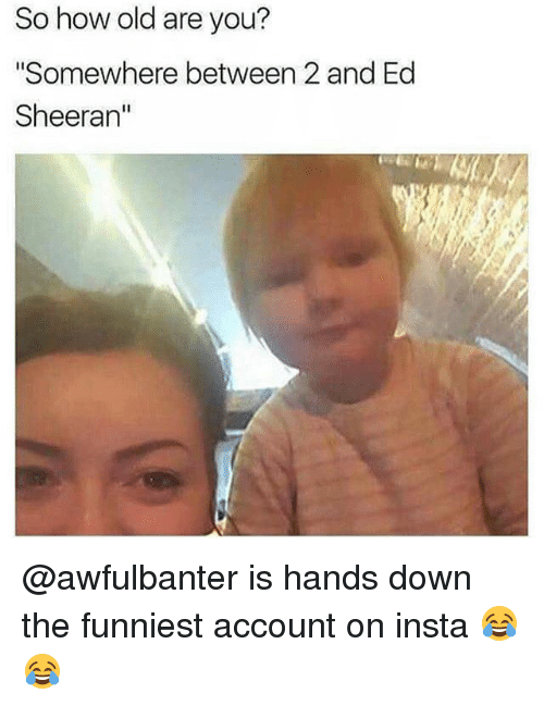 """Memes, Ed Sheeran, and Old: So how old are you?  """"Somewhere between 2 and Ed  Sheeran"""" @awfulbanter is hands down the funniest account on insta 😂😂"""