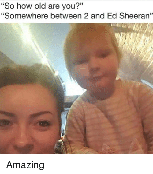 "Memes, Ed Sheeran, and Amazing: ""So how old are you?""  ""Somewhere between 2 and Ed Sheeran"" Amazing"