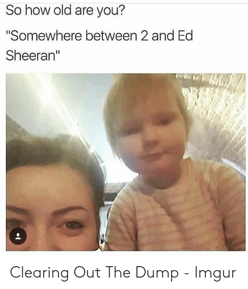 """Ed Sheeran: So how old are you?  """"Somewhere between 2 and Ed  Sheeran"""" Clearing Out The Dump - Imgur"""