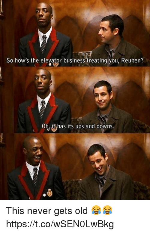 Memes, Ups, and Business: So how's the elevaitor business treating you, Reuben?  Oh itshas its ups and downs.  ·ら This never gets old 😂😂 https://t.co/wSEN0LwBkg