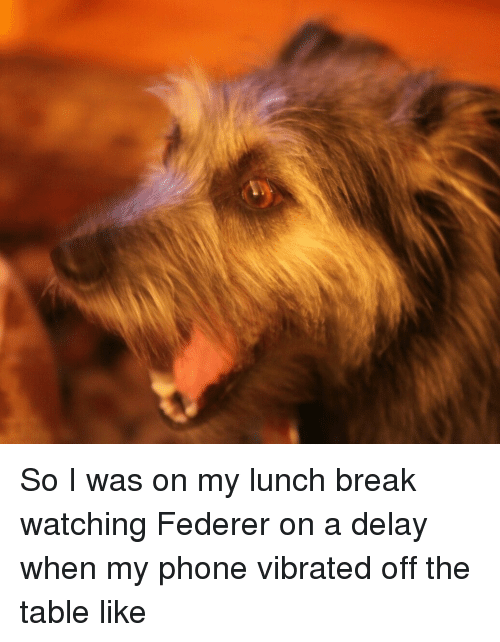 Vibraters: So I was on my lunch break watching Federer on a delay when my phone vibrated off the table like