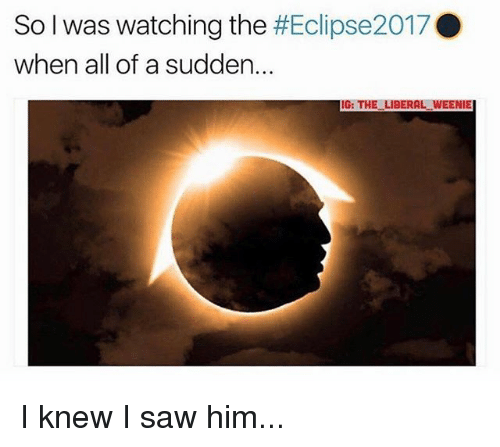 Memes, Saw, and 🤖: So I was watching the #Eclipse2017 .  when all of a sudden..  IG: THE LIBERAL WEENIE I knew I saw him...