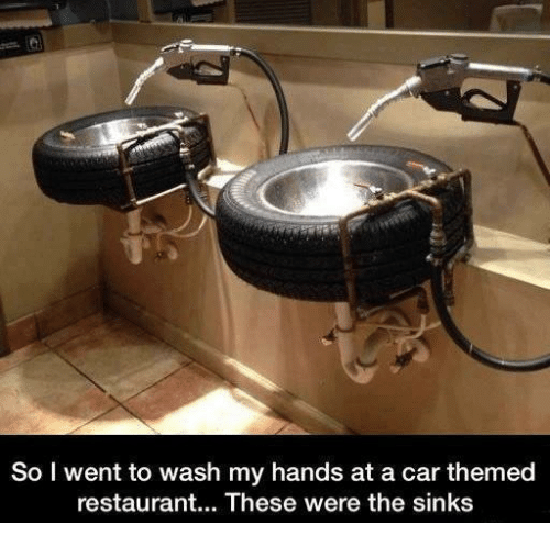 Memes, Restaurant, and 🤖: So I went to wash my hands at a car themed  restaurant... These were the sinks