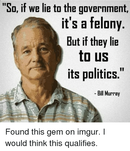"Im 14 & This Is Deep: ""So, if we lie to the government,  it's a felony  But if they lie  to US  its politics.  Bill Murray Found this gem on imgur. I would think this qualifies."