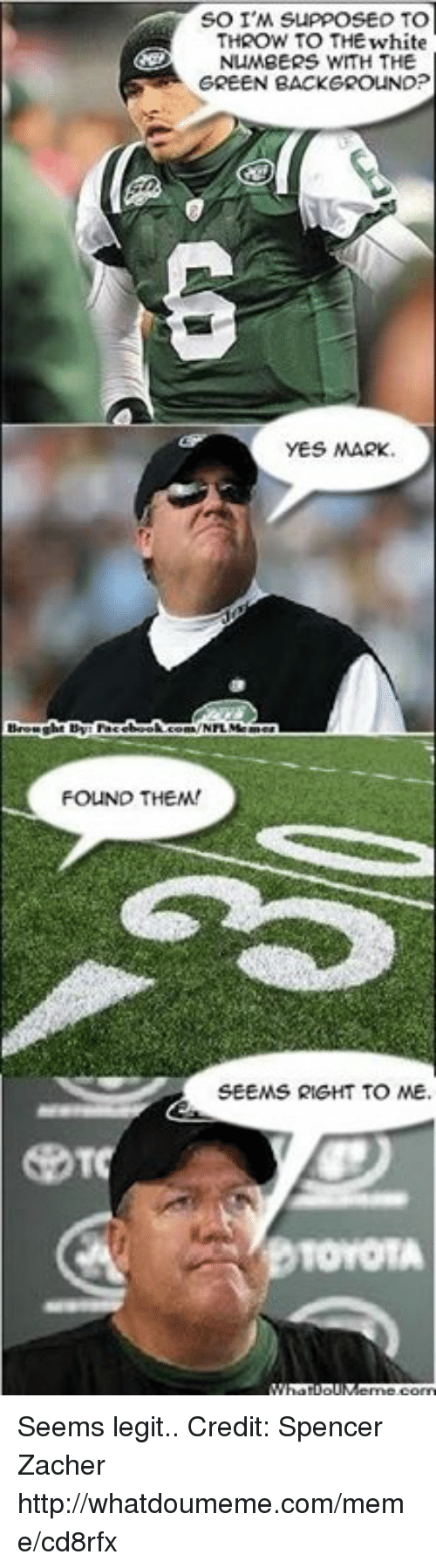 Meme, Nfl, and Toyota: SO I'M suppose TO  THROW TO THEwhite  NUMBERS WITH THE  GREEN BACKGROUND?  YES MARK.  FOUND THEM!  SEEMS RIGHT TO ME.  TOYOTA Seems legit.. Credit: Spencer Zacher  http://whatdoumeme.com/meme/cd8rfx
