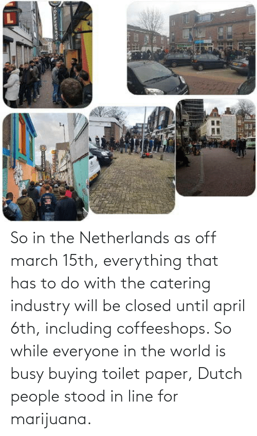 toilet: So in the Netherlands as off march 15th, everything that has to do with the catering industry will be closed until april 6th, including coffeeshops. So while everyone in the world is busy buying toilet paper, Dutch people stood in line for marijuana.