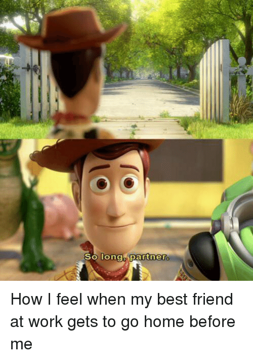 So Long Partner How I Feel When My Best Friend at Work