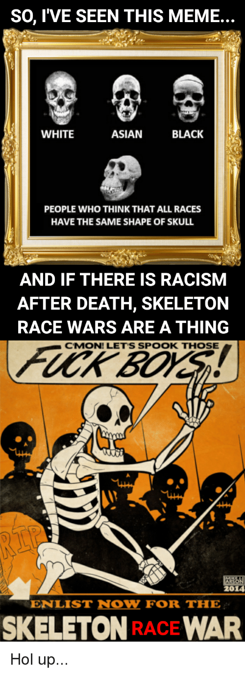 race wars: SO, l'VE SEEN THIS MEME...  WHITE  ASIAN  BLACK  PEOPLE WHO THINK THAT ALL RACES  HAVE THE SAME SHAPE OF SKULL  AND IF THERE IS RACISM  AFTER DEATH, SKELETON  RACE WARS ARE A THING  CMON! LET'S SPOOK THOSE  ARS  2014  ENLIST NOW FOR THE  SKELETON RACE WAR