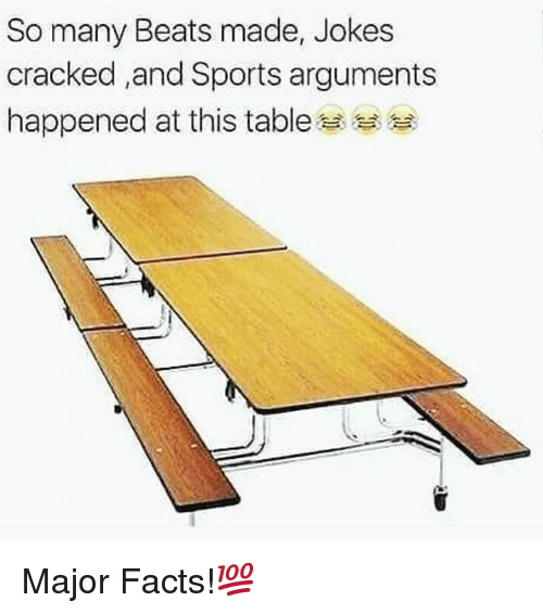 Facts, Sports, and Beats: So many Beats made, Jokes  cracked ,and Sports arguments  happened at this table Major Facts!💯