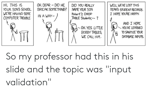 """Programmer Humor, Professor, and This: So my professor had this in his slide and the topic was """"input validation"""""""