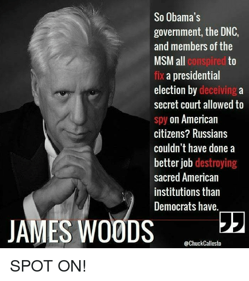 Memes, Presidential Election, and American: So Obama's  government, the DNC,  and members of the  ll conspired  to  fix a presidential  election by deceiving a  secret court allowed to  spy on American  citizens? Russians  couldn't have done a  better job destroying  sacred American  institutions than  Democrats have.  JAMES WOODS 22  @ChuckCallesto SPOT ON!