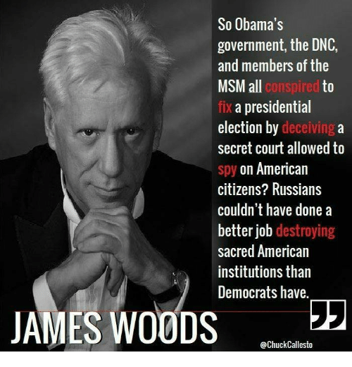 Memes, Presidential Election, and American: So Obama's  government, the DNC,  and members of the  ll conspired  to  fix a presidential  election by deceiving a  secret court allowed to  spy on American  citizens? Russians  couldn't have done a  better job destroying  sacred American  institutions than  Democrats have.  JAMES WOODS 22  @ChuckCallesto