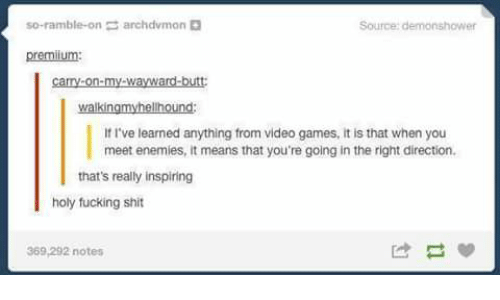 Fucking, Memes, and Shit: so-ramble-on  archdvmon  Source: demonshower  premium:  If I've learned anything from video games, it is that when you  meet enemies, it means that you're going in the right direction  that's really inspiring  holy fucking shit  369,292 notes