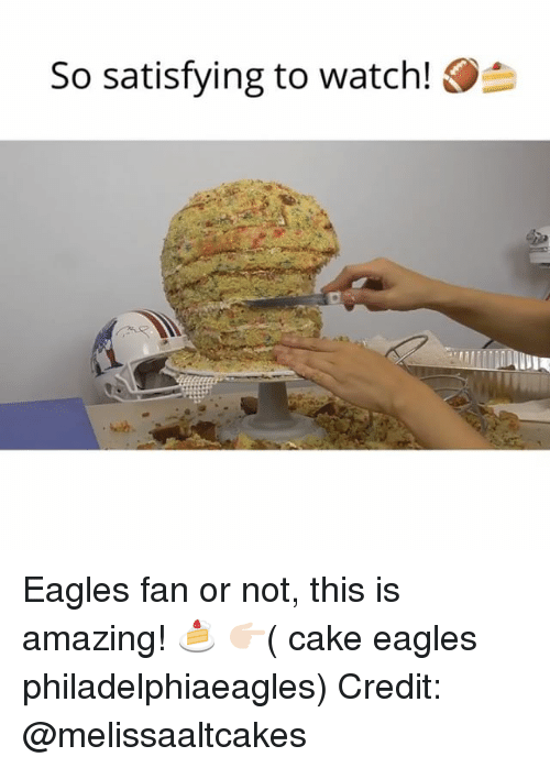 Philadelphia Eagles, Memes, and Cake: so satisfying to watch! O Eagles fan or not, this is amazing! 🍰 👉🏻( cake eagles philadelphiaeagles) Credit: @melissaaltcakes