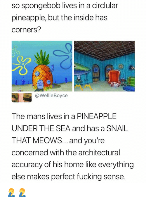 Fucking, SpongeBob, and Home: so spongebob lives in a circlular  pineapple, but the inside has  corners?  @WellieBoyce  The mans lives in a PINEAPPLE  UNDER THE SEA and has a SNAIL  THAT MEOoWS... and you're  concerned with the architectural  accuracy of his home like everything  else makes perfect fucking sense 🤦‍♂️🤦‍♂️