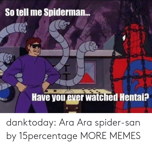 have you ever: So tell me Spiderman...  Have you ever watched Hentai? danktoday:  Ara Ara spider-san by 15percentage MORE MEMES