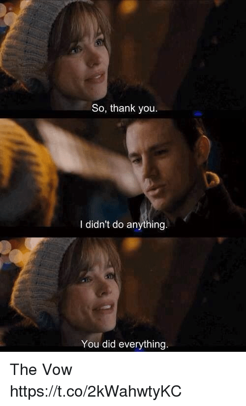 Memes, The Vow, and Thank You: So, thank you  I didn't do anything  You did everything The Vow https://t.co/2kWahwtyKC
